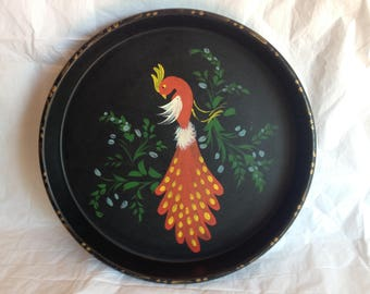 Tole Painted Red Bird Round Metal Serving Tray 1950s