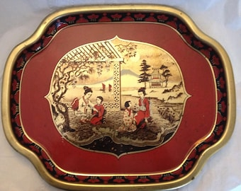 Metal Serving Tray Made England Japanese Theme Metal Tray Manufacturing Co