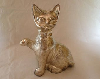 Vintage Metal Silver-Colored Cat Pussy Cat Bank 1970s