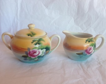 Noritake Handpainted Sugar Bowl and Creamer Rose and Lake Scene