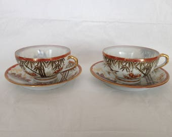 Kutani Japan Bone China Cups and Saucers Style #246 Porcelain Birds Bamboo Temple Motif