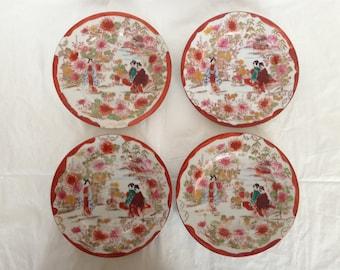Japanese Geisha Girl Porcelain Dessert Plates (4) Unmarked