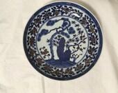 Chinese Porcelain Blue and White Red Iron Oxide Plate Marked Da Qing Kangxi Nian Zhi, Kangxi Dynasty Late 20th Century