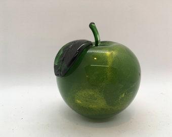 Bottle Green Blown Glass Apples Pair