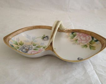 Vintage Hand Painted Nippon Porcelain Candy Dish ~ Pink and Blue Flowers