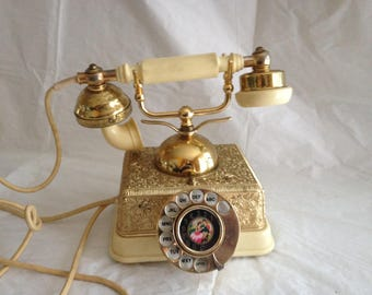 Rotary Dial French Provincial Metal and Plastic Phone ~ Made in Singapore ~ 1960s