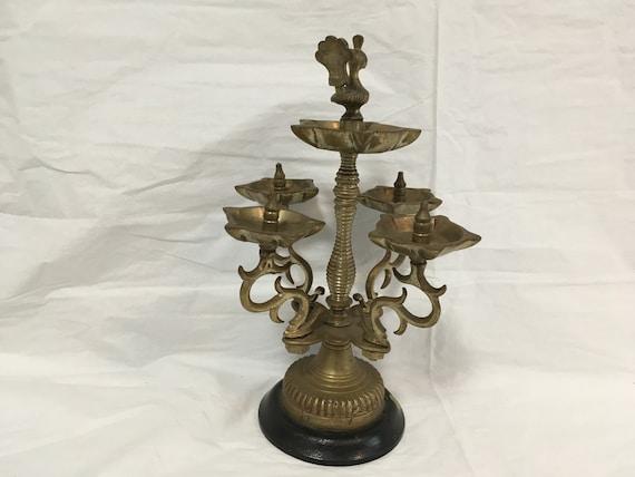 Vintage Indian Brass Peacock Multi, Vintage Wood Oil Lamp Holder