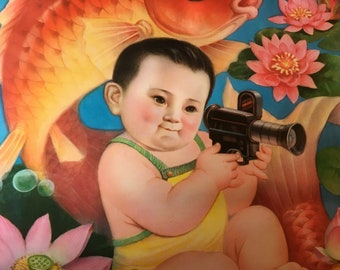 Vintage Chinese Poster 1988 ~ Fat Baby Holding Movie Camera Gold Fish and Lotus Flowers