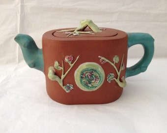 Antique Chinese Zisha Yixing Clay Tea Pot ~ Ceramic Appliqué of Prunus Tree Flowers & Branches ~ Probably Republican Period