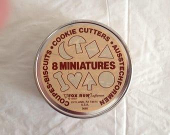 Eight Miniature Cookie Cutters ~ Biscuit Cookie Cutters ~ Fox Run, Ivyland PA, 1980