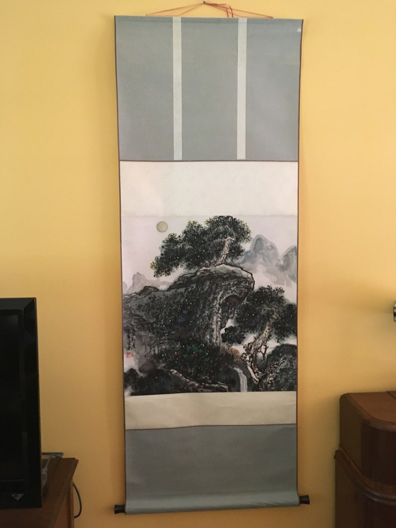Vintage Chinese Scroll Painting ~ Chinese Scroll Landscape Painting