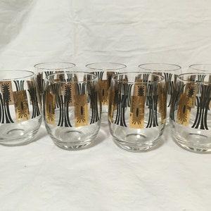 Culver Black 22K Gold Highball Drinking Glasses 1960s 3 Total ~ MCM Vintage Culver Bar Glasses