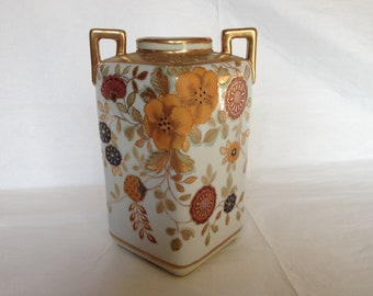 Nippon Japanese Porcelain Hand Painted Square Vase with 2 Handles ~ Flowers With Gold Accents