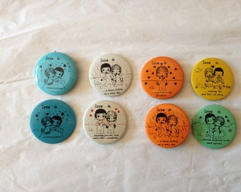 """1970 Kim Casali """"LOVE IS"""" Pin-Back Buttons (8 Total) ~ United Feature Syndicate, Inc."""