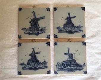 Vintage Dutch Tin Glazed Terracotta Tiles ~ Blue and White Windmill Decorator Tiles