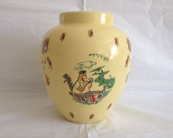 1960s Yellow Pot with Humorous Golf Motif Decorations