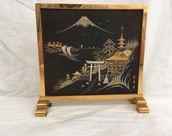 Japanese AMITA Chokin Table Screen ~ Mixed Metals Mt. Fuji, Temple, Chicken Table Screen