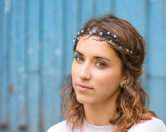 Woodland headpiece,Clear hair wreath,Bohemain headpiece,Bride hair crown, Boho headpiece,Long hair piece,Bohemian hairpiece,Bridesmaids gift