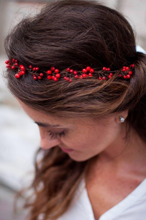 Rotes Haar Krone Kristall Krone Perlen Haar Kranz Hochzeit Etsy
