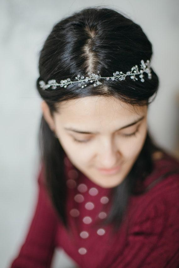 Silver headpiece,Silver elven crown,Boho crown headpiece,Bridal boho crown,Rustic crown,Silver tiara,Beaded hair crown,Boho crown,Boho halo