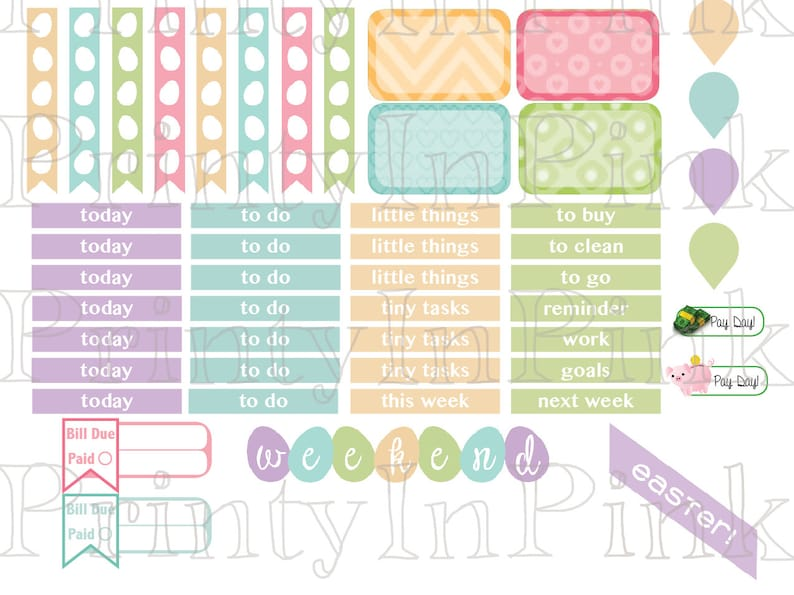 Easter March  Printable Planner Sticker Set ECLP Planner Stickers Easter Holiday Weekly Kit