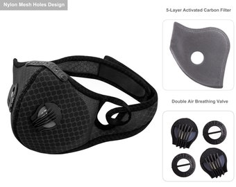 6 Colors Sports Mesh Adult Face Mask with Filter, Adjustable Straps, Washable Reusable, Cycling, Hiking, Skiing, Other Outdoor Activities