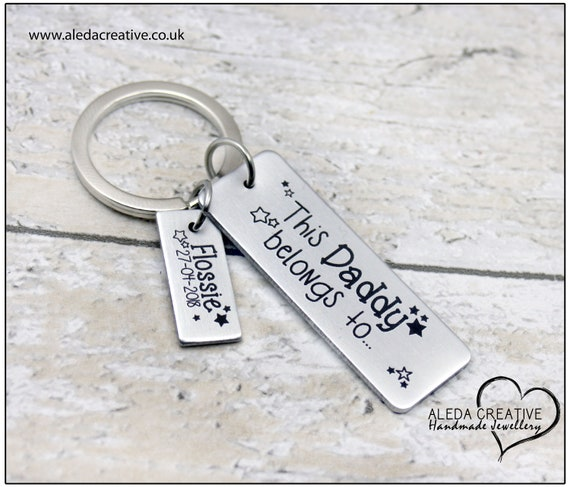 Nanny To Be Rectangle Keyring Grandad Gift . PERSONALISED Daddy