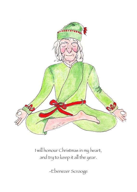 Christmas Carol Scrooge Drawing.Scrooge Christmas Card A Christmas Carol Christmas Card Scrooge Ebenezer Scrooge Card Yoga Lover Christmas Card Yoga Christmas Card