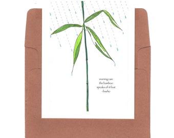 Bamboo card, rain card haiku, bamboo card, basho haiku, literary card, nature lover, rain lover, bamboo print, basho print