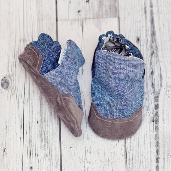 7158c56ff79 Faded Denim Baby Shoes Soft sole Baby Shoes Baby Booties