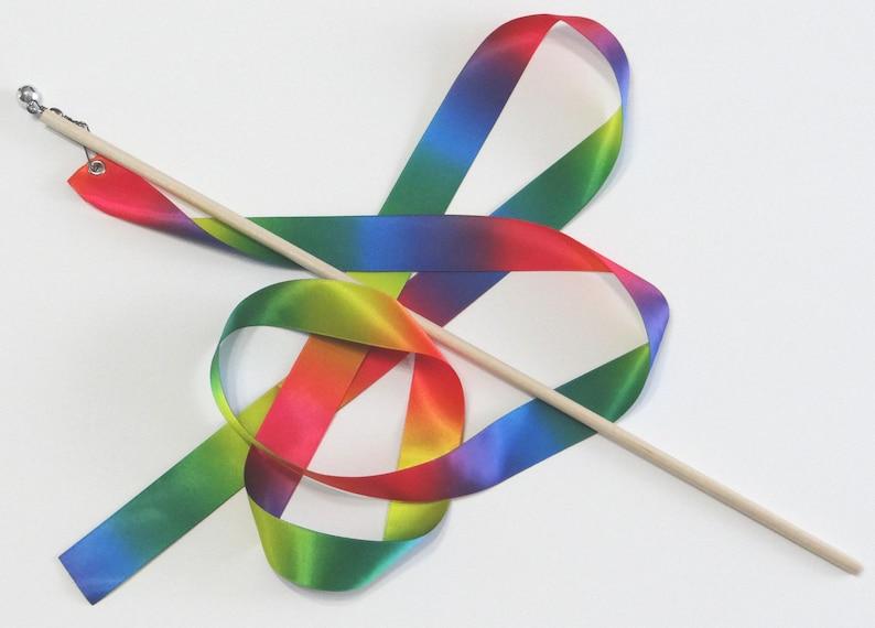 5' Satin Rainbow RIBBON WAND spinner swivel 16 image 1