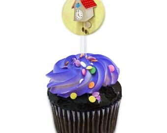 Cuckoo Clock Cake Cupcake Toppers Picks Set