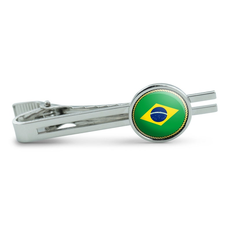 Flag Of Brazil Men/'s Tie Clip Tack Bar