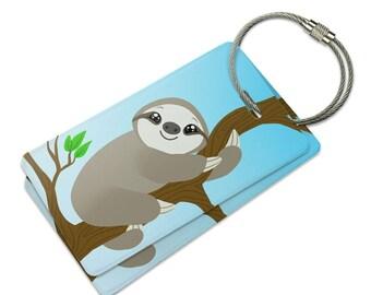 Sloth Just Hanging Around Suitcase Bag Id Luggage Tag Set