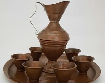 b76943de3f6 Vintage Copper Goblet Set with Serving Tray , Vintique Copper Wine  Glasses,Engraved Copper Tea Set,Home Decor, Vintage Dining Room Bar Decor