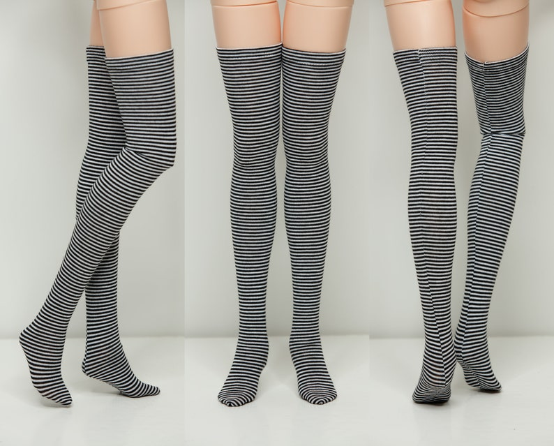 e25f1051eff Black Striped Stockings thigh-high Doll Clothes hid eid