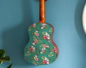 Ukulele sticker   Hawaiian hibiscus flower and palm design uke cover  Decal Soprano, Concert, Tenor ukelele   Personalise your instrument