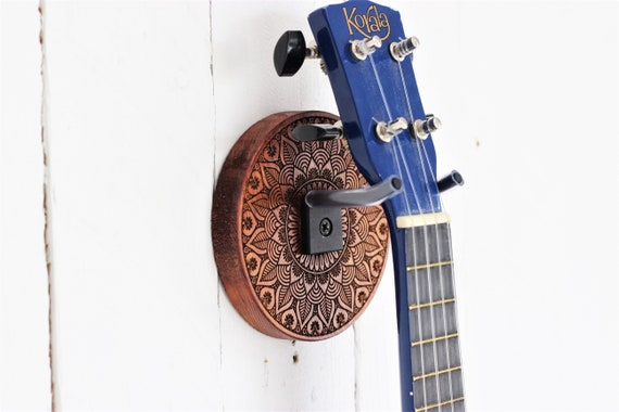 ukulele wall mount etched wood mandala ukulele wall hanger etsy. Black Bedroom Furniture Sets. Home Design Ideas
