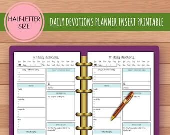 HALF-SIZE Daily Devotion Faith Bible Study Planner Insert Printable | Fits Kikki K Large & Filofax A5 Instant Download