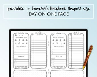 Traveler's Notebook Passport Day On One Page DO1P Insert Printable