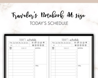 Traveler's Notebook A6 Today's Schedule Day On One Page DO1P Insert Printable