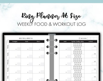 RING A6 Weekly Food and Workout Log Health Fitness Planner Insert Printable