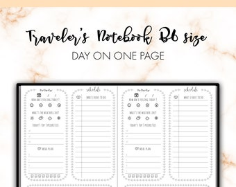 Traveler's Notebook B6 Day On One Page DO1P Insert Printable