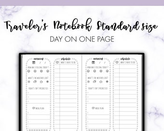 Traveler's Notebook Standard Day on One Page DO1P Daily Insert Printable