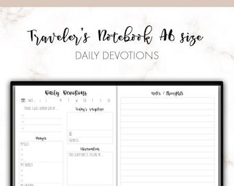 Traveler's Notebook A6 Daily Devotions Christian Bible Faith Insert Printable