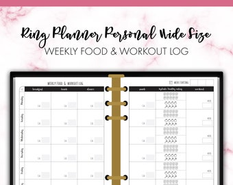Ring Personal Wide Weekly Food and Workout Log Health Fitness Planner Insert Printable
