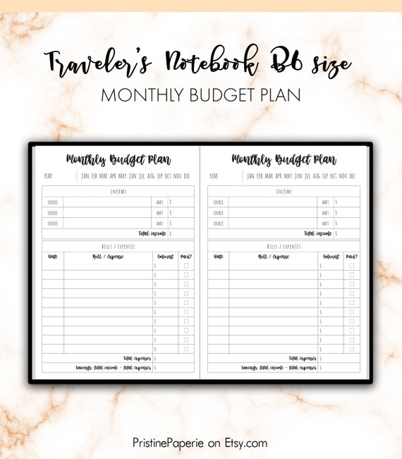 traveler s notebook b6 monthly budget plan bill expenses etsy