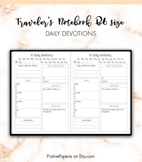 picture regarding Printable Devotions named Vacationers Laptop computer B6 Day by day Devotions Christian Bible Analysis Include Printable