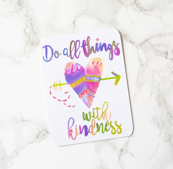 Watercolour Do All Things With Kindness Journal Card Etsy
