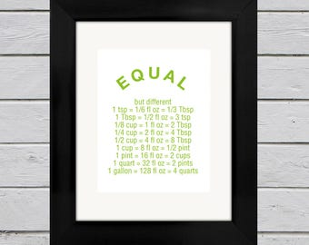 Cooking Measurements Print | Equal But Different | Kitchen Wall Decor | Gift for Her | Gift for Mom | Gift for Him